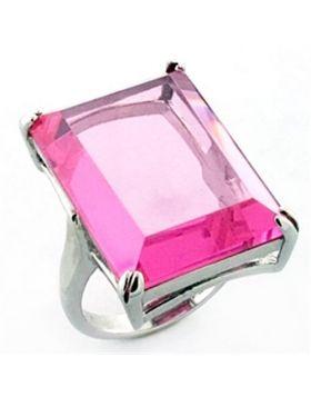 LOA642-5 - 925 Sterling Silver Rhodium Ring AAA Grade CZ Rose