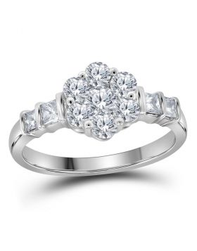 14kt White Gold Womens Round Diamond Flower Cluster Ring 1.00 Cttw