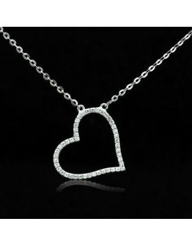 TS039-16 - 925 Sterling Silver Rhodium Chain Pendant AAA Grade CZ Clear