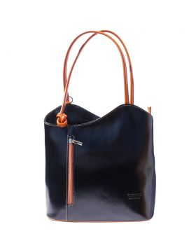 Cloe leather shoulder bag - Black/Tan