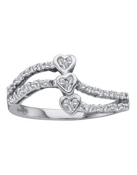 14kt White Gold Womens Round Diamond Triple Trinity Heart Openwork Ring 1/4 Cttw