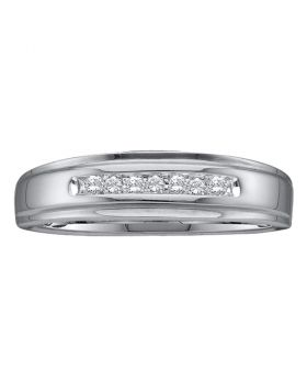 14kt White Gold Unisex Round Diamond Channel-set Wedding Anniversary Band Ring 1/12 Cttw