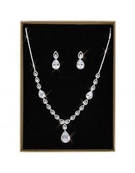 Jewelry Sets,Brass,Rhodium,AAA Grade CZ,Clear,Pear