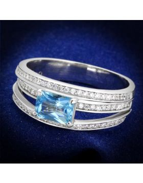 TS344-5 - 925 Sterling Silver Rhodium Ring Synthetic Sea Blue
