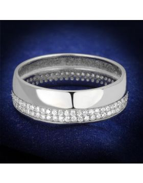 TS375-5 - 925 Sterling Silver Rhodium Ring AAA Grade CZ Clear