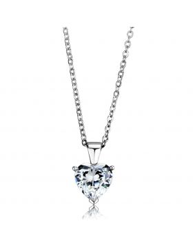 LOS889-18 - 925 Sterling Silver Rhodium Chain Pendant AAA Grade CZ Clear