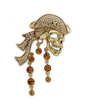 Brooches,White Metal,Gold,Top Grade Crystal,Multi Color