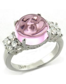LOAS1206-5 - 925 Sterling Silver High-Polished Ring Synthetic Light Rose