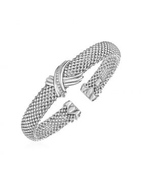 Popcorn Texture Cuff Bangle with X Motif and Diamonds in Sterling Silver