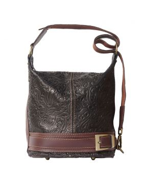 Caterina S leather shoulder bag - Dark Brown/Brown