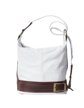 Caterina S leather shoulder bag - White/Brown