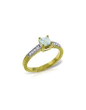 0.65 Carat 14K Gold Winds Go Round Aquamarine Diamond Ring