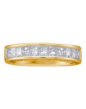 14kt Yellow Gold Womens Princess Channel-set Diamond Single Row Wedding Band 1 Cttw - Size 5
