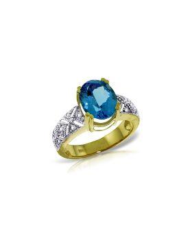 3.2 Carat 14K Gold Sounds w/ in Blue Topaz Diamond Ring