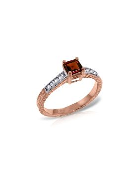 14K Rose Gold Ring Natural Diamond & Garnet