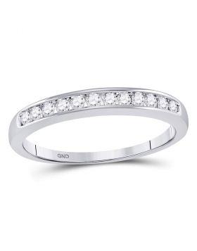 14kt White Gold Womens Round Channel-set Diamond Single Row Wedding Band 1/4 Cttw - Size 8