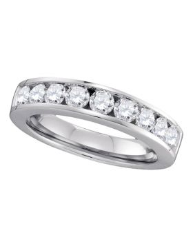 14kt White Gold Womens Round Channel-set Diamond Single Row Wedding Band 1.00 Cttw - Size 6