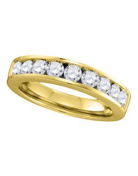 14kt Yellow Gold Womens Round Channel-set Diamond Single Row Wedding Band 1.00 Cttw - Size 8