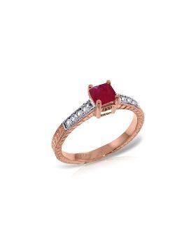 14K Rose Gold Ring Natural Diamond & Ruby Gemstone