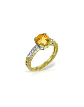 1.8 Carat 14K Gold Having A Moment Citrine Diamond Ring