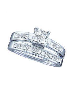 14kt White Gold Womens Princess Diamond Bridal Wedding Engagement Ring Band Set 1.00 Cttw - Size 5