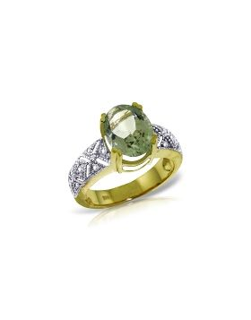 3.2 Carat 14K Gold Ring Natural Diamond Green Amethyst