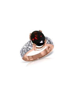 14K Rose Gold Ring Natural Diamond & Garnet Jewelry