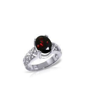 3.2 Carat 14K White Gold Growing Love Garnet Diamond Ring