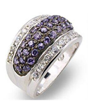 Ring 925 Sterling Silver Rhodium + Ruthenium AAA Grade CZ Amethyst