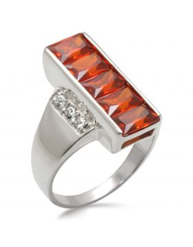Ring 925 Sterling Silver High-Polished AAA Grade CZ Garnet