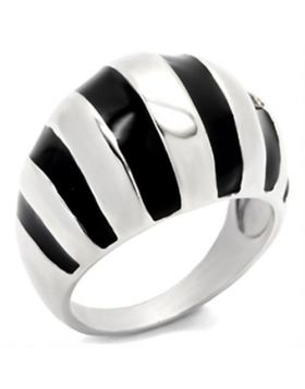 Ring 925 Sterling Silver High-Polished Epoxy Jet