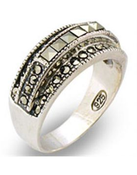 Ring 925 Sterling Silver Antique Tone Semi-Precious Jet Marcasite