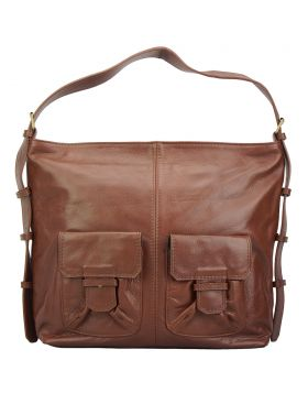 Totally leather shoulder bag - Brown