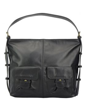 Totally leather shoulder bag - Black