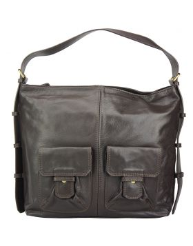 Totally leather shoulder bag - Dark Brown