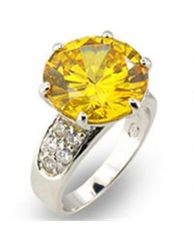 Ring 925 Sterling Silver High-Polished AAA Grade CZ Citrine Round