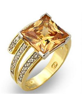 Ring 925 Sterling Silver Gold+Rhodium AAA Grade CZ Champagne