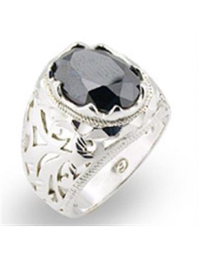 Ring 925 Sterling Silver High-Polished AAA Grade CZ Jet