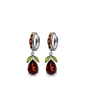 14.3 Carat 14K White Gold Sequel Peridot Garnet Earrings