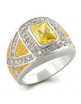 Ring 925 Sterling Silver High-Polished AAA Grade CZ Citrine