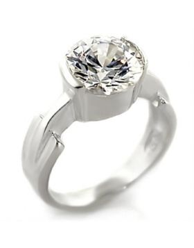 Ring 925 Sterling Silver High-Polished AAA Grade CZ Clear Round