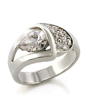 Ring 925 Sterling Silver High-Polished AAA Grade CZ Clear Pear