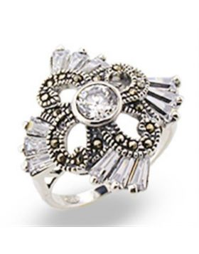 Ring 925 Sterling Silver Antique Tone AAA Grade CZ Clear Round