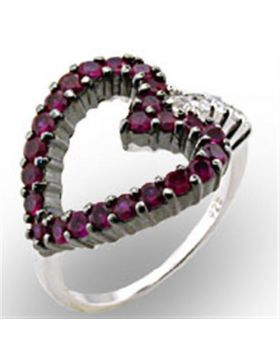 Ring 925 Sterling Silver Rhodium + Ruthenium Synthetic Ruby Garnet
