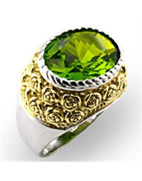 Ring 925 Sterling Silver Reverse Two-Tone Synthetic Peridot Spinel