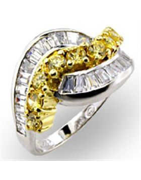 Ring 925 Sterling Silver Reverse Two-Tone AAA Grade CZ Citrine Round