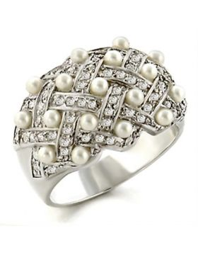 Ring 925 Sterling Silver High-Polished Synthetic White Pearl Round