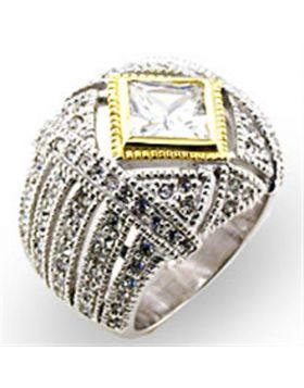 Ring 925 Sterling Silver Reverse Two-Tone AAA Grade CZ Clear