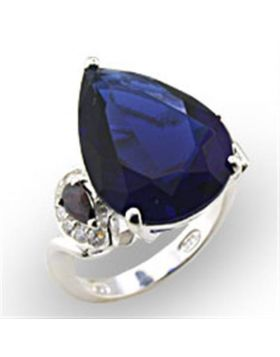 Ring 925 Sterling Silver High-Polished Synthetic Montana Spinel Pear