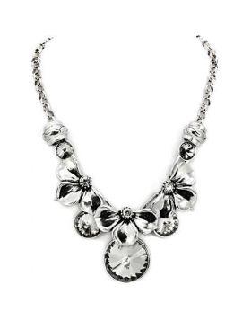 LO1872-16 - White Metal Antique Silver Necklace Top Grade Crystal Jet